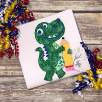 back to school dino applique, dinosaur applique, dinosaur embroidery design, school dino embroidery design, embroidery design, embroidery pattern, dinosaur embroidery file