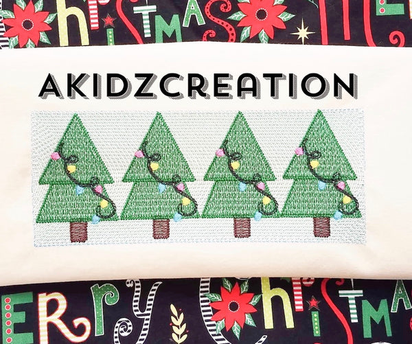 faux smock christmas tree, christmas tree embroidery design, tree embroidery design, tree with christmas lights embroidery design, christmas tree trio embroidery design, forest tree embroidery design