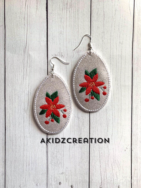 ith christmas holly earrings, holly earrings embroidery design, holly design, earring embroidery design