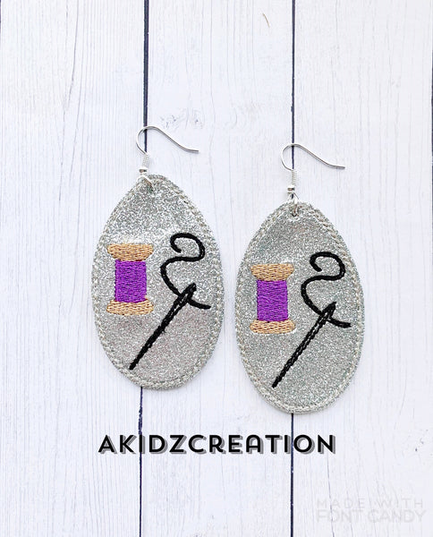in the hoop sewing earrings, sewing themed earrings , machine embroidery earring pattern