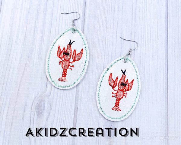 ith lobster earrings embroidery design, in the hoop machine embroidery earrings, ith earrings , lobster earrings, crawfish earrings, mardi gras embroidery design, mardi gras earrings