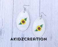 ith sunflower earrings, earrings, sunflower embroidery design, thanksgiving embroidery design, spring embroidery design, flower embroidery design, flower earrings, machine embroidery earring patterns