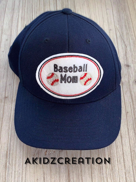 baseball mom hat patch embroidery design, hat patch embroidery design, baseball embroidery design, baseball hat patch embroidery design, in the hoop embroidery design
