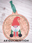 gnome embroidery, christmas gnome embroidery, gnome ornament, gnome christmas oranament, in the hoop ornament embroidery