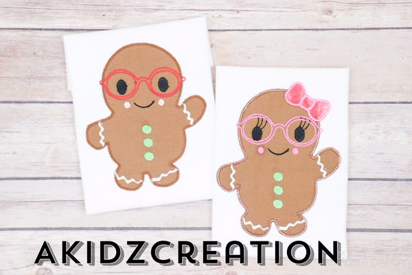 gingerbread embroidery design, gingerbread with glasses embroidery design, christmas embroidery design, applique, girl and boy gingerbread embroidery design