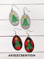 ith mini earrings, machine embroidery earrings, earring embroidery design, christmas embroidery, christmas tree embroidery, in the hoop embroidery, machine embroidery in the hoop patterns