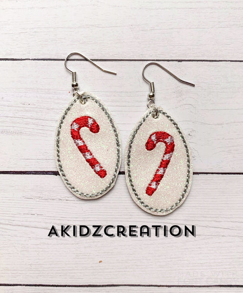 candy cane embroidery design, christmas embroidery design, candy cane earrings embroidery design