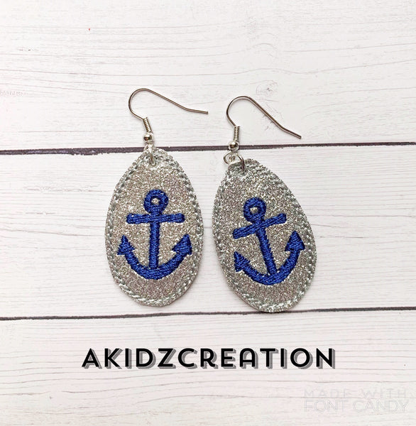 anchor embroidery design, nautical embroidery design, earrings embroidery design, mini earrings embroidery design, in the hoop embroidery design