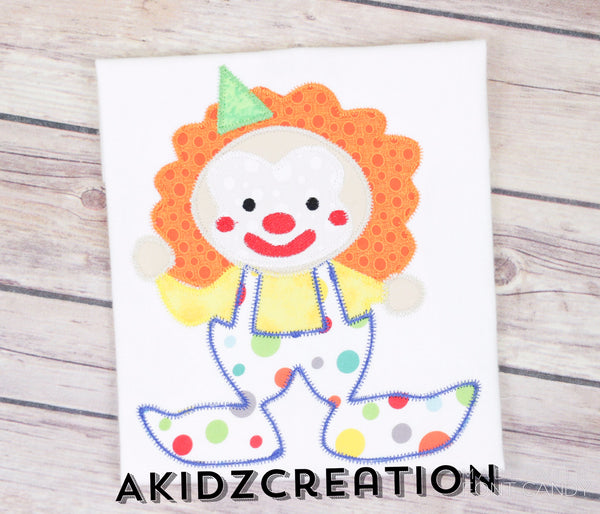 circus clown applique, applique, clown applique, clown embroidery design, clown embroidery pattern, machine embroidery clown,