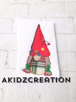 christmas lights embroidery design, christmas gnome embroidery design, gnome embroidery design, gnome applique, applique, machine embroidery gnome designs, christmas lights on a gnome, gnome hat embroidery design