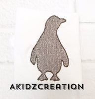 sketch penguin embroidery design, penguin design, silhouette embroidery design, animal embroidery, penguin embroidery, zoo animal embroidery