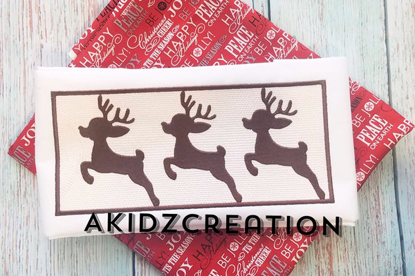 faux smock embroidery design, faux smock christmas design, faux smock reindeer trio embroidery design, reindeer embroidery design, deer embroidery design