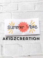 summber vibes embroidery design, sun embroidery design, akidzcreation