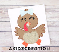 turkey embroidery design, turkey sibling set embroidery design, girl turkey embroidery design, boy turkey embroidery design, thanksgiving embroidery design