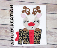 christmas reindeer embroidery design, reindeer embroidery design, reindeer applique, applique, christmas present applique, applique