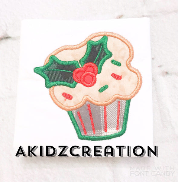 holly cupcake embroidery design, christmas embroidery design, christmas applique, applique, christmas embroidery design, holly embroidery design, cupcake embroidery design