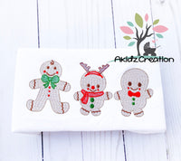 sketch embroidery design, sketch gingerbread embroidery design, christmas embroidery design, sketch christmas gingerbread design, gingerbread with antlers embroidery design, gingerbread with bow tie embroidery design, sketch gingerbread trio embroidery design, christmas embroidery design
