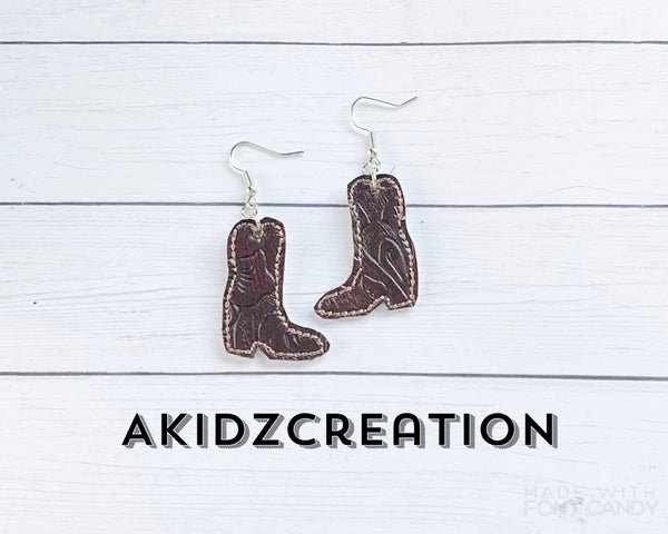 in the hoop cowboy earrings, in the hoop earrings, machine embroidery earrings, cowboy embroidery design, boot embroidery design, boots earrings