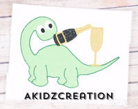 new years embroidery design, dinosaur embroidery design, sketch dinosaur embroidery design, champagne glass embroidery design, champagne bottle embroidery design