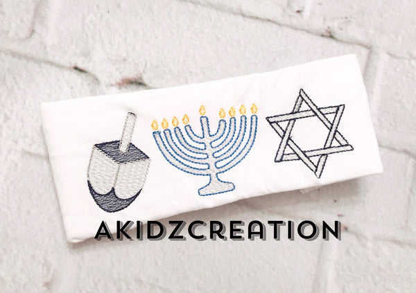 dreidel embroidery design, hanukkah embroidery design, menorah embroidery design, star of david embroidery design, sketch menorah embroidery design, sketch star of david embroidery design, sketch dreidel embroidery design