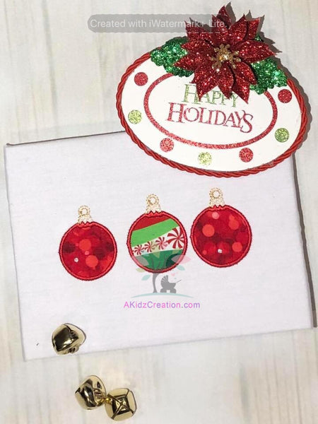 Christmas Ornament Applique Trio