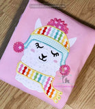 Winter Llama Applique Design