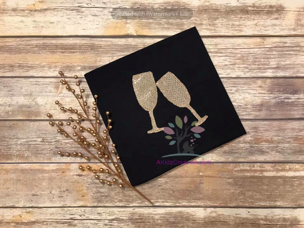Bean Stitch Champagne Glass Applique