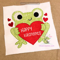 valentines day frog embroidery design, frog embroidery design, frog applique, spring applique, animal applique, valentine embroidery design, heart applique, love frog applique