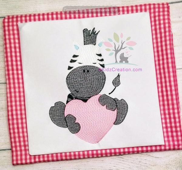 valentines day, zebra, embroidery, machine embroidery, farm animal, zoo animal
