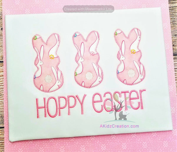 rabbit embroidery, bunny embroidery, machine embroidery, akidzcreation, applique, rabbit applique, easter applique