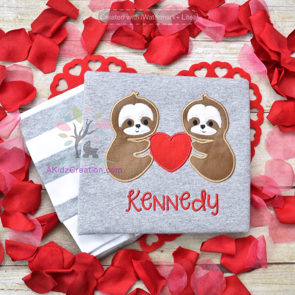 valentines day embroidery, machine embroidery, akidzcreation, sloth embroidery, valentine sloth, sloths
