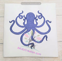 sea life embroidery, ocean embroidery, nautical embroidery, akidzcreation, octopus, sketch embroidery