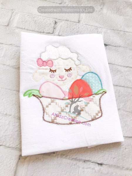 easter embroidery, lamb embroidery, akidzcreation, easter eggs embroidery