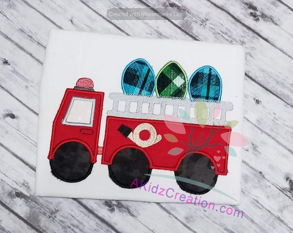 easter fire truck applique embroidery, embroidery, embroidery design, applique design