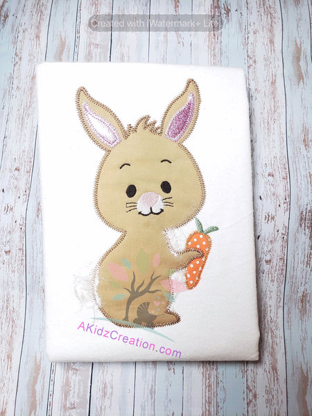 zig zag applique, applique design, akidzcreation, embroidery, machine embroidery, rabbit embroidery, bunny embroidery, easter embroidery, carrot embroidery