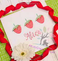 strawberry embroidery design, summer embroidery design , sketch embroidery design, food embroidery design, strawberries embroidery design, trio embroidery design