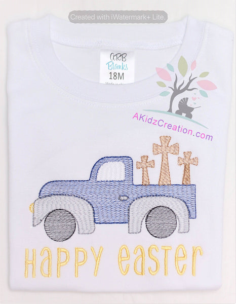 easter truck, cross embroidery, pickup truck embroidery, truck embroidery,vehicle embroidery, transportation embroidery