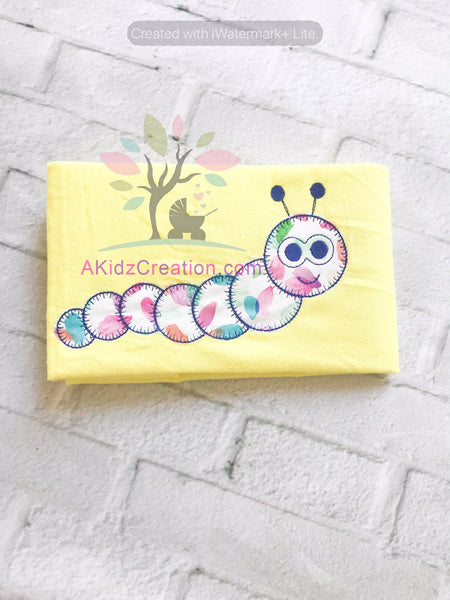 worm applique, blanket stitch applique, applique design, insect embroidery, bug embroidery, spring embroidery