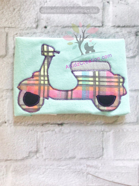 scooter embroidery, vehicle embroidery, vehicle transportation