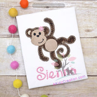 girl monkey applique, monkey applique, monkey embroidery, zoo animal embroidery, animal embroidery, animal applique