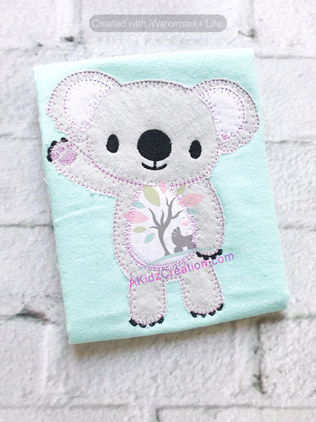 koala embroidery, koala applique, zoo animal embroidery, animal embroidery, zig zag koala applique, vintage koala embroidery design