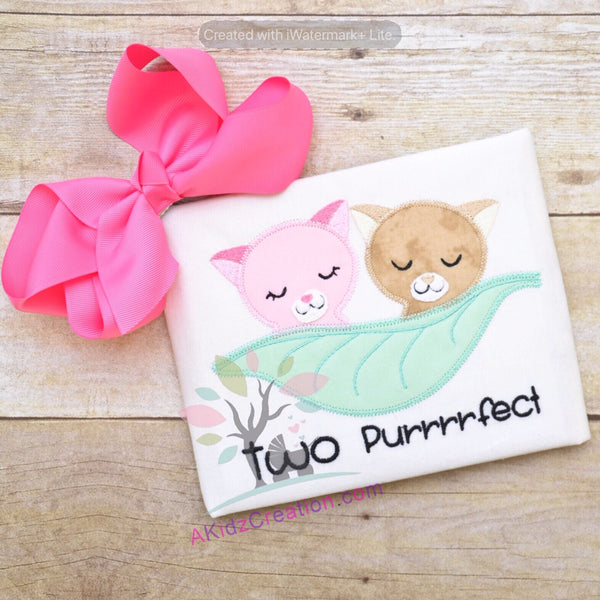 two purrfect embroidery, cat embroidery, cat applique, leaf embroidery, two peas in a pod applique, two peas in a pod embroidery