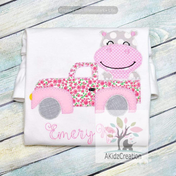 truck embroidery design, hippo embroidery design, hippo peeker embroidery design, truck embroidery, truck applique, transportation embroidery