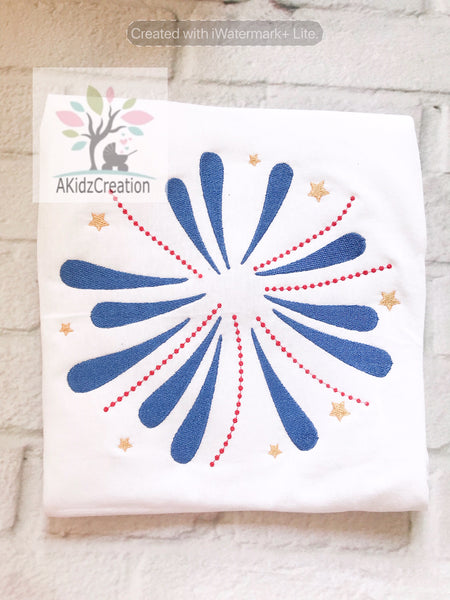 fireworks embroidery design, independence day embroidery design, patriotic embroidery design
