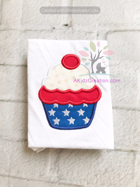 patriotic cupcake, independence day embroidery design, 4th of july embroidery design,