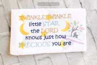 twinkle twinkle little star embroidery design, moon embroidery, star embroidery