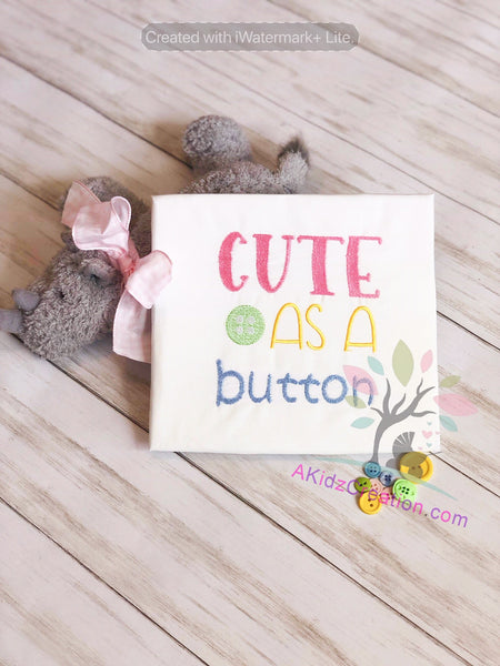 cute as a button embroidery design, saying embroidery design, akidzcreation, pocket pillow saying, book pillow