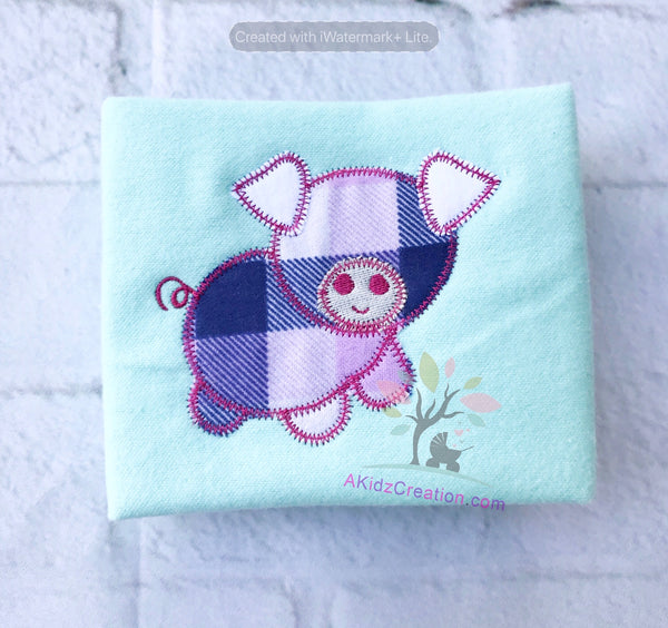 zig zag applique, applique embroidery, pig embroidery, pig applique, pig machine embroidery design, free embroidery design, akidzcreation, farm animal embroidery design, animal embroidery design