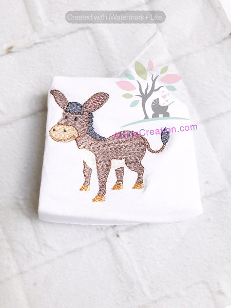 sketch donkey, donkey embroidery design, embroidery, machine embroidery, horse embroidery, jack ass embroidery