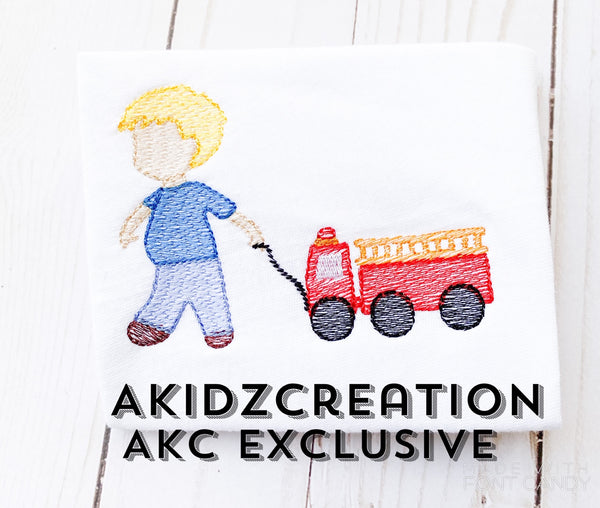 a boy pulling his fire truck embroidery design, fire truck embroidery design, sketch embroidery design, sketch fire truck embroidery design